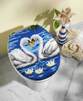 Vervaco 1255-13504 Swans Toilet Lid Cover